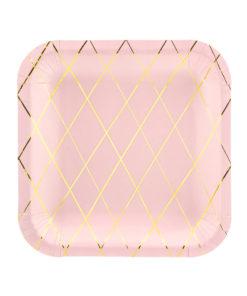 Firkantede lyserøde paptallerkener med guld design