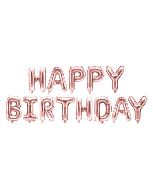 Rosa guld Happy Birthday folie balloner