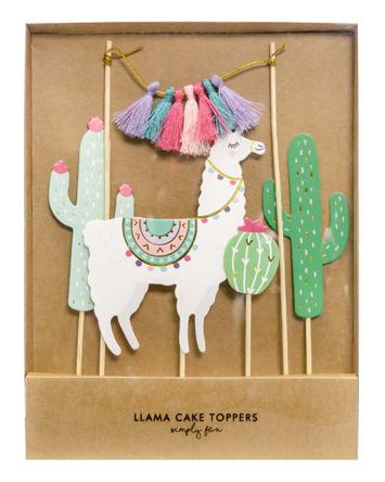 Lama og kaktus kagepynt