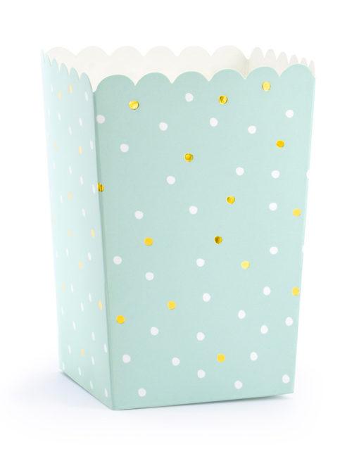 Små popcornbægre - mint med prikker