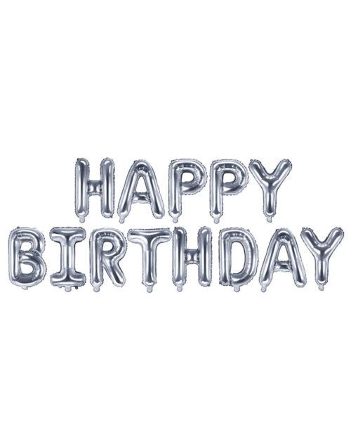 Sølv fødselsdags ballon guirlande