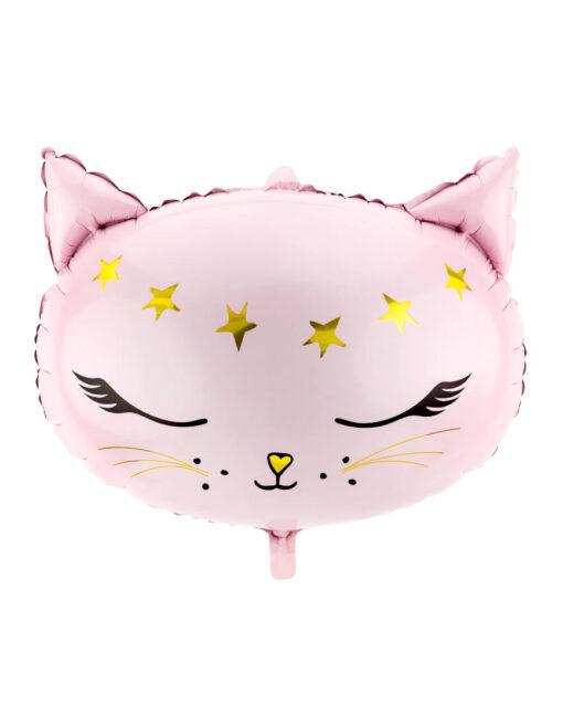 Stor lyserød katte folieballon
