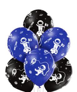 Sorte og blå astronaut balloner
